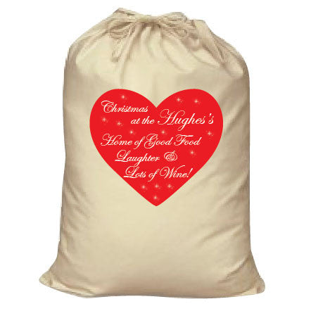 CA12 - Home of Good Food, Laughter and Lots of Wine Christmas Personalised Canvas Santa Sack