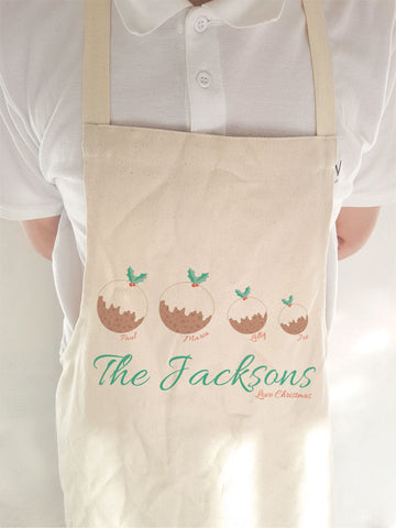 CA13 - Your Family as Christmas Puddings Personalised Apron