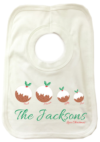 CA13 - Your Family as Christmas Puddings Personalised Baby Bib