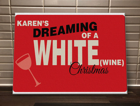 CA14 - Personalised (Name)'s Dreaming of a White (Wine) Christmas Canvas Print