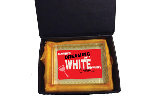 CA14 - Personalised (Name)'s Dreaming of a White (Wine) Christmas Glass Crystal Block & Gift Box