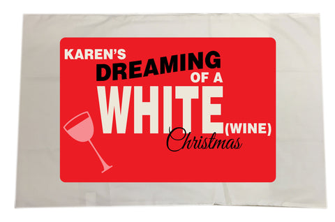CA14 - Personalised (Name)'s Dreaming of a White (Wine) Christmas White Pillow Case Cover