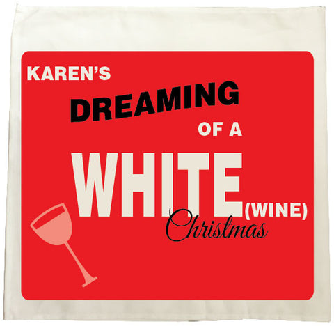 CA14 - Personalised (Name)'s Dreaming of a White (Wine) Christmas Tea Towel