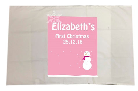 CA23 - Cute Baby 1st Christmas Pink/Blue Snowman Personalised White Pillow Case Cover