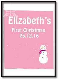 CA23 - Cute Baby 1st Christmas Pink/Blue Snowman Personalised Print