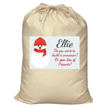 CA05 - Do You Want to Build a Snowman Christmas Personalised Canvas Santa Sack