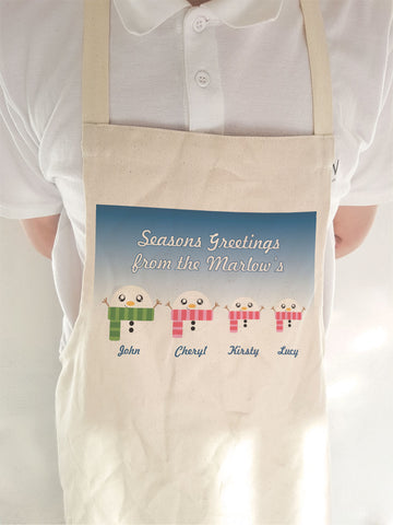 CB02 - Cute Snowman Family Personalised Christmas Apron