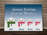 CB02 - Cute Snowman Family Personalised Christmas Canvas Print