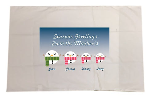 CB02 - Cute Snowman Family Personalised Christmas White Pillow Case Cover