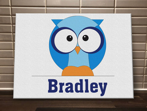 CB03 - Boys One Owl Personalised Canvas Print