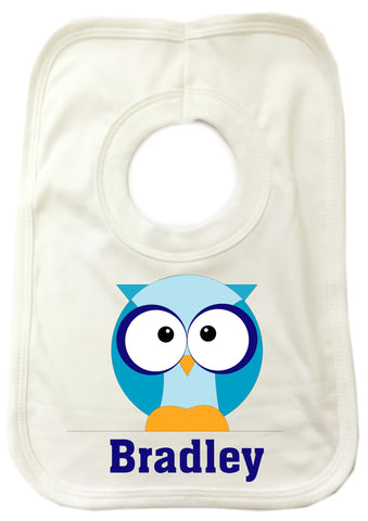 CB03 - Boys One Owl Personalised Baby Bib