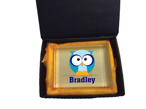 CB03 - Boys One Owl Personalised Glass Crystal Block with Presentation Gift Box