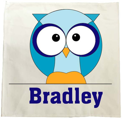 CB03 - Boys One Owl Personalised Tea Towel