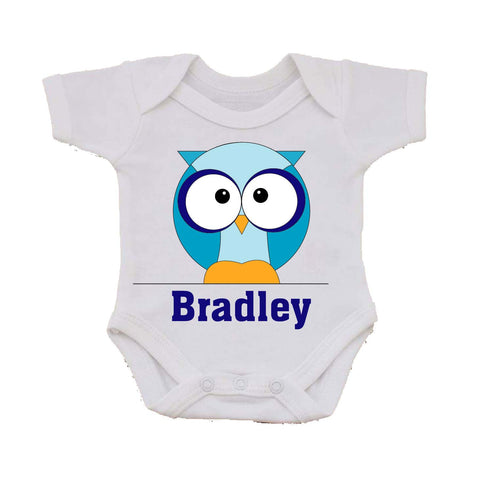 CB03 - Boys One Owl Personalised Baby Vest