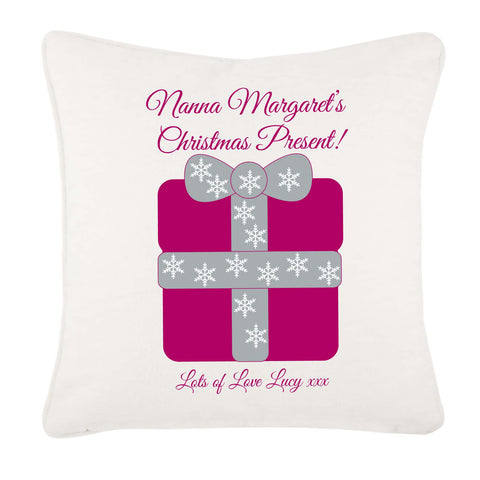 Nanna Personalised Christmas Present Canvas Cushion Cover