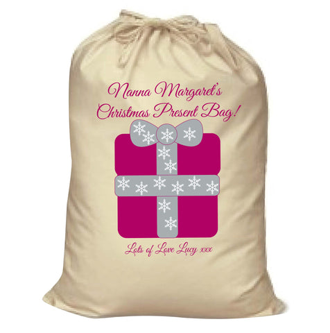 CB04 - Nanna Personalised Christmas Present Canvas Santa Sack