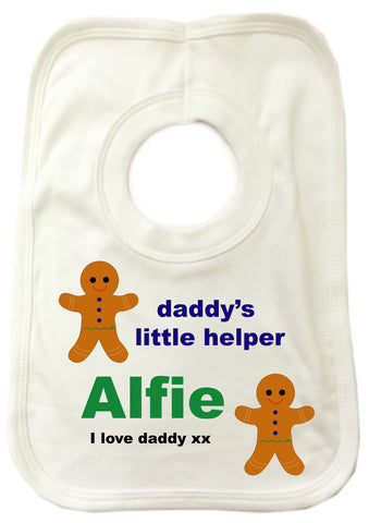 CB05 - Daddy's Little Gingerbread Helper Personalised Baby Bib