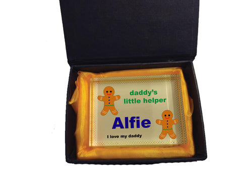 CB05 - Daddy's Little Gingerbread Helper Personalised Crystal Block with Presentation Gift Box