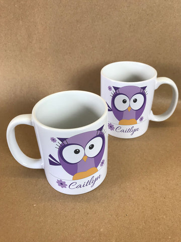 CB07 - Cute Girls Owl with name underneath Personalised Mug & White Gift Box