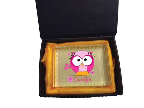 CB07 - Cute Girls Owl with name underneath Personalised Crystal Block with Presentation Gift Box