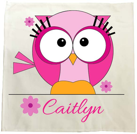 CB07 - Cute Girls Owl with name underneath Personalised Tea Towel