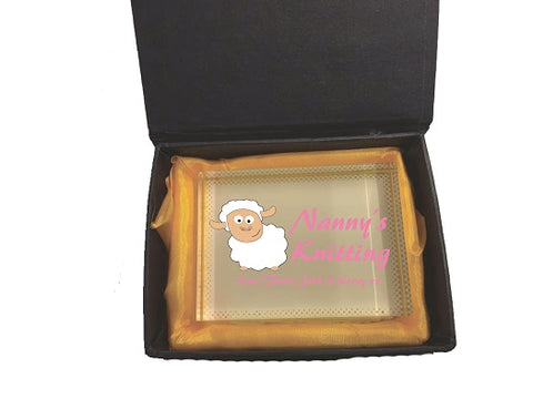 CB09 - Mummy's/ Nanny's Knitting Love From Personalised Crystal Block & Presentation Gift Box