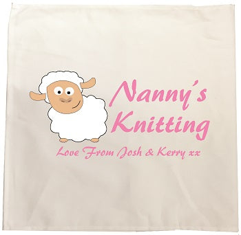CB09 - Mummy's/ Nanny's Knitting Love From Name or Names Personalised Tea Towel