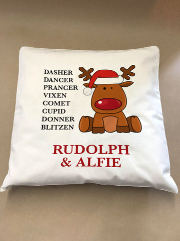 CC01 - Personalised Christmas Santa's Reindeers with Rudolph & Child's Name Cushion Cover
