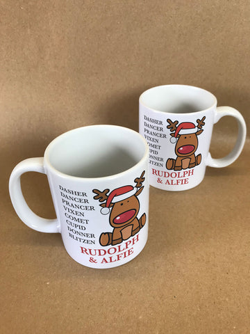 CC01 - Personalised Christmas Santa's Reindeers with Rudolph & Child's Name Mug & White Gift Box
