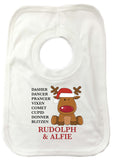 CC01 - Personalised Christmas Santa's Reindeers with Rudolph & Child's Name Baby Bib