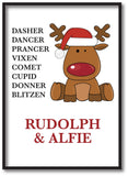CC01 - Personalised Christmas Santa's Reindeers with Rudolph & Child's Name Canvas