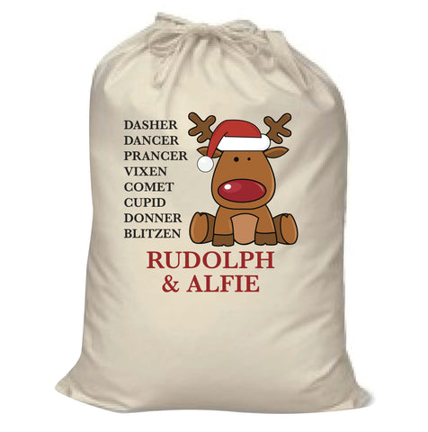 CC01- Personalised Christmas Santa's Reindeers with Rudolph & Child's Name Canvas Santa Sack