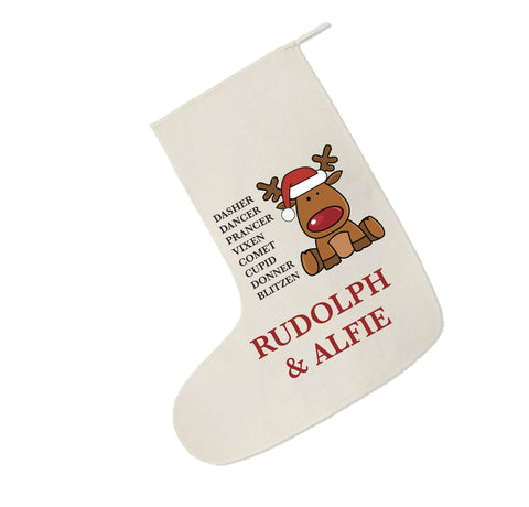 CC01- Personalised Christmas Santa's Reindeers with Rudolph & Child's Name Canvas Santa Stocking