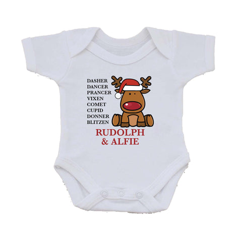 CC01 - Personalised Christmas Santa's Reindeers with Rudolph & Child's Name Baby Vest