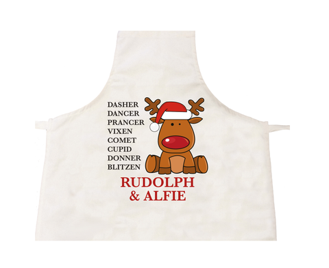 CC01 - Personalised Christmas Santa's Reindeers with Rudolph & Child's Name Apron