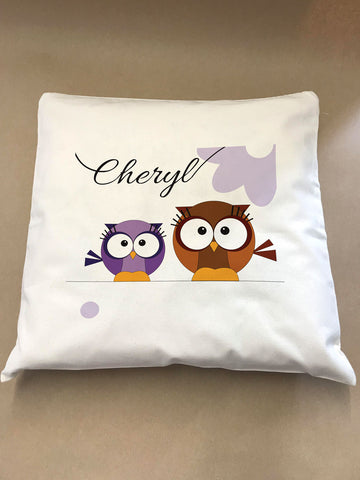 CC02 - Personalised Cute Owl Canvas Cushion Cover