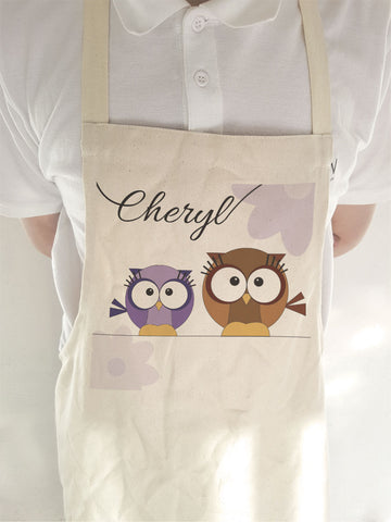 CC02 - Personalised Cute Owl with Name Apron