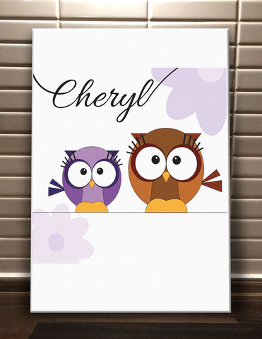 CC02 - Personalised Cute Owl with Name Canvas Print