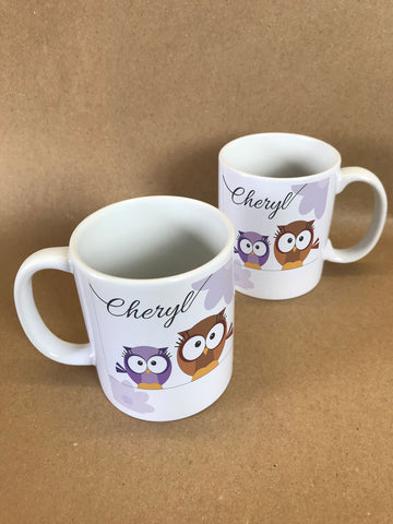 CC02- Personalised Cute Owl with Name on a Mug & White Gift Box