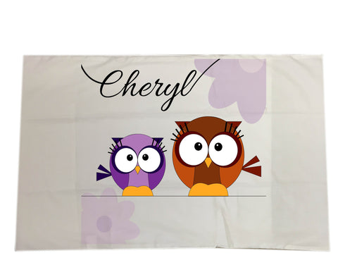 CC02 - Personalised Cute Owl with Name White Pillow Case Cover