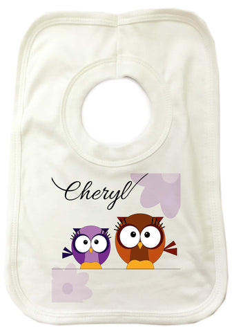 CC02 - Personalised Cute Owl with Name Baby Bib. Change the name to suit your requirements.