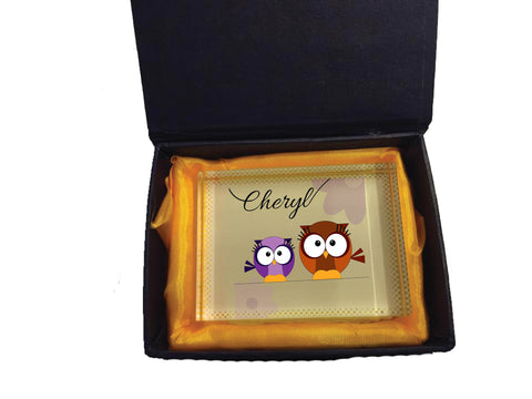 CC02 - Personalised Cute Owl with Name Crystal Block with Presentation Gift Box