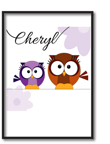 CC02 - Personalised Cute Owl with Name Print