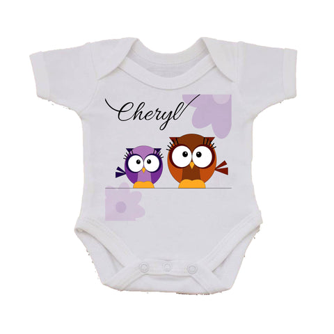 CC02 - Personalised Cute Owl with Name Baby Vest. Change the name to suit