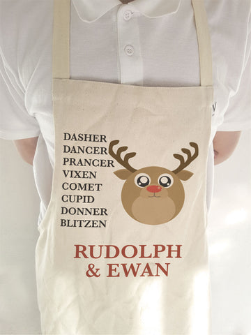 CC03 - Personalised Christmas Cute Reindeer & Child's Name and list of Reindeers Apron