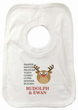CC03 - Personalised Christmas Cute Reindeer & Child's Name and list of Reindeers Baby Vest