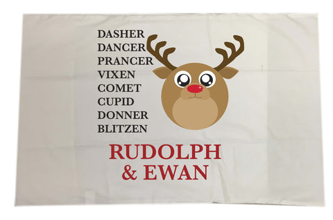CC03 - Personalised Christmas Cute Reindeer & Child's Name and list of Reindeers Pillow Case