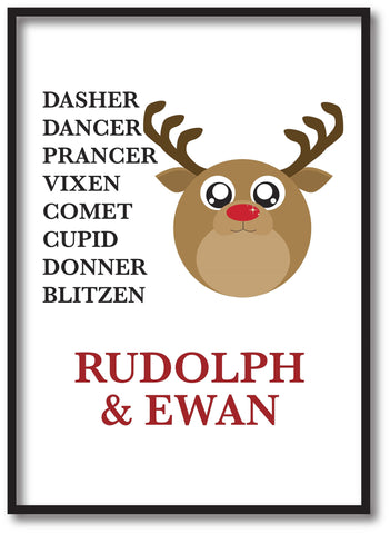 CC03 - Personalised Christmas Cute Reindeer & Child's Name and list of Reindeers White Print