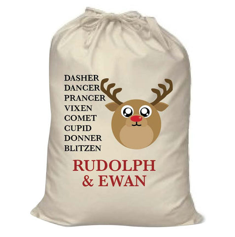 CC03- Personalised Christmas Cute Reindeer & Child's Name and list of Reindeers in Canvas Santa Sack