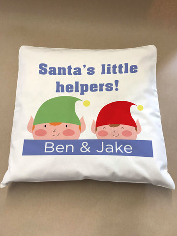 CC04 - Personalised Christmas Santa's Little Helpers Canvas Cushion Cover